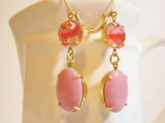 Pink Coral Glass Earrings Dangles Glass by dfoxjewelrydesigns