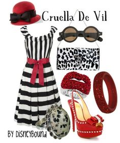 """Cruella De Vil"" ~ This cheerful Spring outfit was inspired by Disney's fur-obsessed villain from the 101 Dalmatians. Designed by Leslie Kay or also known as the designer of Disneybound outfits. Can be found on Polyvore or her personal shop or tumblr account."