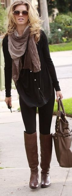 Tunic, leggings, scarf and boots.