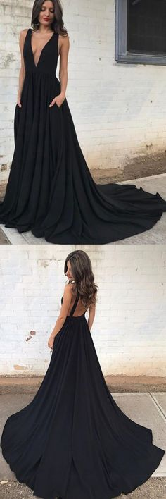Deep V-Neck Court Train Sleeveless Backless Black Chiffon Prom Dress