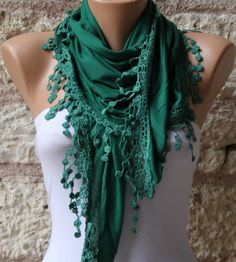 Green   Shawl Scarf  Headband Necklace Cowl by fatwoman on Etsy, $17.00