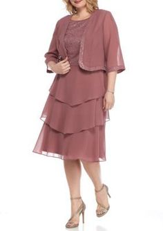 Maya Brooke  Plus Size Tiered Lace Detail Jacket Dress