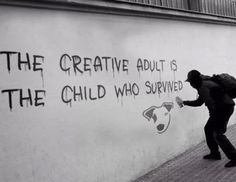Banksy / the creative adult is the child who survived. Gave me the idea of doing the top half of my final piece in the style of Banksy Banksy Art, Bansky, Banksy Quotes, Graffiti Quotes, Street Art Graffiti, Urban Art, Native American Indians, Cool Art, Art Photography