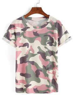 8fcbfea230389 Shop Rolled Sleeve Pink Camouflage T-shirt online. SheIn offers Rolled  Sleeve Pink Camouflage