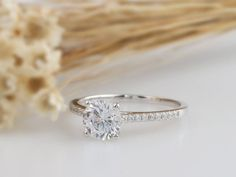 Solid Gold Ring Round Simulated Diamond Center/ Engagement Ring/Stack Ring/Promise ring/Moissanite Ring/White gold Ring For Women – szép gyűrűk – einrichtungsideen wohnzimmer Cheap Engagement Rings, Round Diamond Engagement Rings, Three Stone Engagement Rings, Beautiful Engagement Rings, Vintage Engagement Rings, Solitaire Engagement, Ring Verlobung, Vintage Modern, White Gold Rings