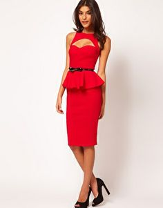 Enlarge ASOS Peplum Dress With Bow Belt