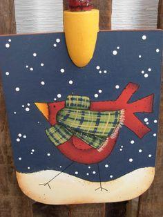 Handpainted Wooden Folk Art Bird Shovel. $15.00, via Etsy.