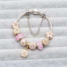 Pulseras europeas Granos de Los Encantos de Oro de La Flor Bauhinia Adapta Pandora Pulseras de Diamantes de Imitación de San Valentín Presente Envío Bolsa de Franela(China (Mainland))