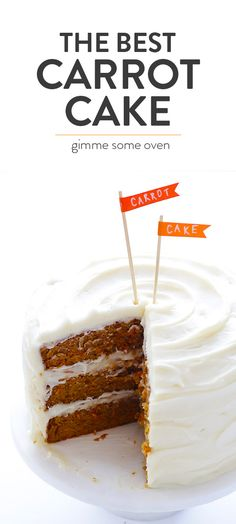 The BEST Carrot Cake Recipe -- perfectly moist and delicious, and made with a heavenly cream cheese frosting! | gimmesomeoven.com #easter #dessert #carrotcake #creamcheese #frosting #recipe