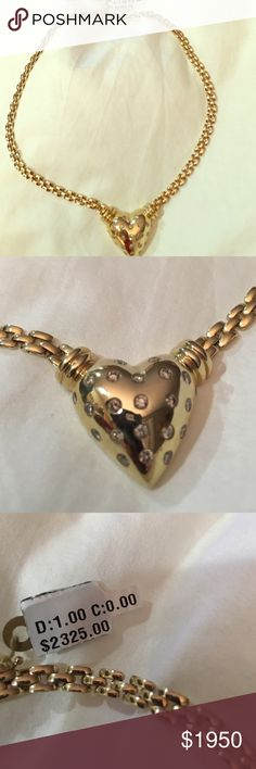 14k gold and genuine diamond heart necklace New with tags Jewelry Necklaces