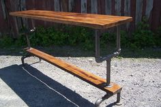 Custom Made Industrial Styled Bar Height Table With A Metal Pipe Base And Salvaged Wood Planks Top(Diy Bar Table) Pool Bar, Bar Patio, Deck Bar, Pipe Table, Wood Table, Pub Table Sets, Bar Tables, Bar Height Table Diy, Coffee Tables