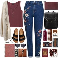 020916 by rosemarykate on Polyvore featuring Monki, Topshop, Birkenstock, Isabel Marant, Yves Saint Laurent, Violeta by Mango, (MALIN+GOETZ), Fat Face and Lomography