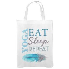 Modern Yoga Eat Sleep Repeat Reusable Bag - accessories accessory gift idea stylish unique custom