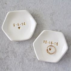 Customize these little ring dishes by Pottery Lodge.