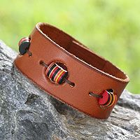 Leather wristband bracelet - Accra Art in Tan - NOVICA $24.95