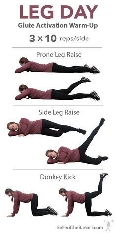 Leg day glute activation warm up for dead sleepy glute syndrome on belle of the barbell Leg And Glute Workout, Leg Day Workouts, Workout Warm Up, At Home Workouts, Glute Workouts, Boxing Workout, Warm Up Exercises, Quick Workouts, Lifting Workouts