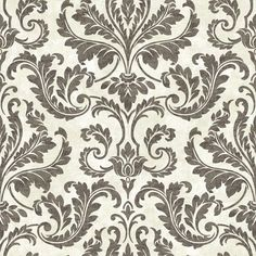 Finley Black Regal Damask Brewster Wallcoverings Wallpaper Wallpaper Brewster Wallcoverings Blacks Grays Damask Wallpaper Satin Effects & Pearlescent Wallpaper Textured Wallpaper, Coated Heavyweight Paper, Easy to clean , Easy to wash, Easy to strip Grey Damask Wallpaper, Victorian Wallpaper, White Wallpaper, Bathroom Wallpaper, Textured Wallpaper, Accent Wallpaper, Wallpaper Stores, Print Wallpaper, Geometric Shapes Wallpaper