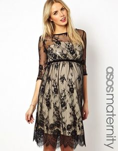 Perfect for baby shower <3 ASOS Maternity Lace Midi Dress With Scallop