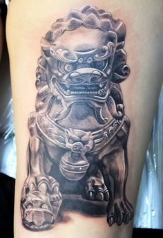 electrographic,tattoo,rosenheim, Chinese guardian lions, Foo dog kufstein bayern, by Lajos.T.jpg