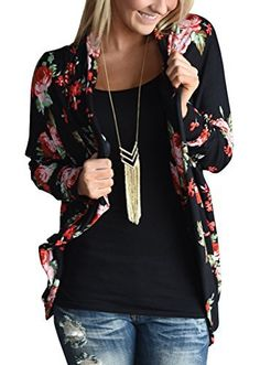 Product review for ZHENYUL Womens Boho Wrap Floral Kimono Cardigans Sweaters Casual Coverup Coat Tops Outwear.  * Specifications: * Please check your measurements to make sure the item fits before ordering. * Use similar clothing to compare with the size. * US S: Bust 92cm—-Sleeve 58cm—-Length 76cm * US M: Bust 96cm—-Sleeve 59cm—-Length 77cm * US L: Bust 100cm—-Sleeve...