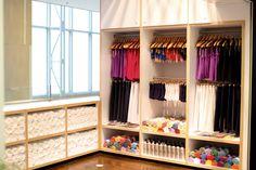 yoga studio retail area + towel storage