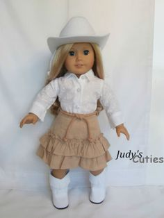 Cowgirl White Hat-Boot +Top-Khaki Skirt Doll Clothes fit American Girl Doll Only