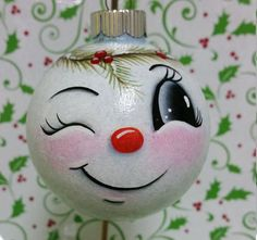 Best 11 This Smiling Snowman looks upon all the activity going on in your home during the Holiday Season. He is made of glass and is 2 inches wide. He is free handed so although he may look similar to other ornaments he is always just a touch different Painted Christmas Ornaments, Hand Painted Ornaments, Handmade Ornaments, Christmas Art, Christmas Projects, Christmas Bulbs, Christmas Decorations, Snowman Ornaments, Painted Snowman