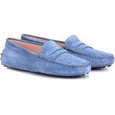 Tod's Gommini Suede Loafers (24.680 RUB) ❤ liked on Polyvore featuring shoes, loafers, blue, loafer shoes, loafers moccasins, tods shoes, blue suede loafers and tods loafers