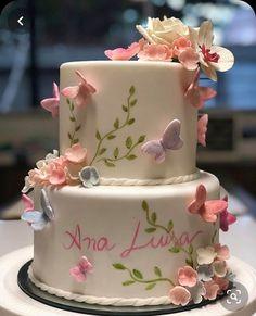 Elegant Birthday Cakes, 1st Birthday Cake For Girls, Butterfly Birthday Cakes, Pretty Birthday Cakes, Butterfly Cakes, Happy Birthday Cakes, Pretty Cakes, Beautiful Cakes, Baby Birthday
