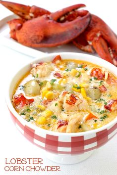 This Lobster Corn Chowder is one of my all time favorite dinner recipes! This chowder recipe starts from scratch, using the lobster shells and all! Lobster Corn Chowder Recipe, Lobster Chowder, Chowder Soup, Lobster Recipes, Chowder Recipes, Fish Recipes, Seafood Recipes, Soup Recipes, Cooking Recipes
