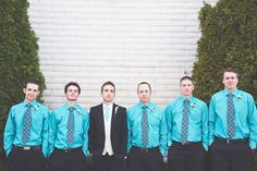 The Gents. Love this Turquoise and black wedding