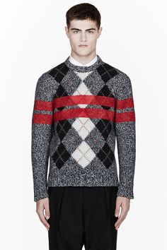 GIVENCHY Grey Melange Painted-Stripe Argyle Wool Sweater