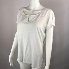 Ralph Lauren Medium Peasant Top Blouse Embroidered Yoke Gathered Short Sleeves   | eBay