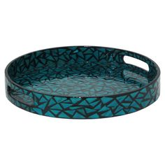 Serve cocktails at your next soiree or arrange a vignette of candles on this charming wood tray, showcasing a mosaic-inspired teal finish.