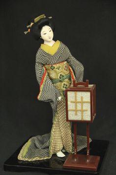 Japanese Vintage Chirimen Gofun Kimono Geisha Maiko Doll Ningyo   eBay