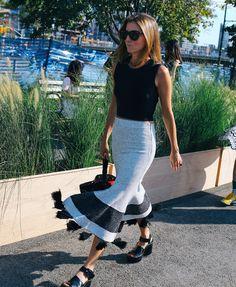 Marina Larroude in Céline shoes and Proenza Schouler skirt