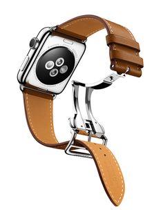 Bracelet Apple Watch Hermès Simple Tour en cuir veau Barénia fauve