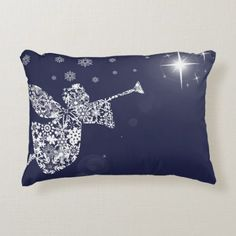 Shop Merry Christmas Angel Blowing Trumpet Silhouette Accent Pillow created by christmastidings. Christmas Photos, Christmas Themes, Merry Christmas, Christmas Decorations, Holiday Decor, Soft Pillows, Accent Pillows, Decorative Pillows, Christmas Ornament Crafts
