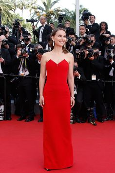 Natalie Portman was red hot in a crimson Dior gown at the opening ceremony. Photo by Getty Images.