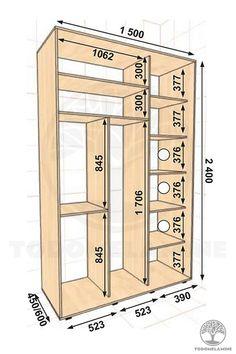 Planos de armarios y closet con medidas en planos Wardrobe Interior Design, Wardrobe Door Designs, Wardrobe Design Bedroom, Closet Designs, Closet Bedroom, Entry Closet, Closet Renovation, Closet Remodel, Tv Unit Furniture