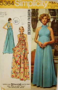 "Vintage 1970s Simplicity Misses' Halter Dress Pattern 5364 Size 12 (34"" Bust). 12.00, via Etsy."