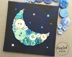 Moon and Stars Button Art Geeky Room Decor by PaintedWithButtons