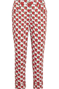 Prada - Cropped Printed Mid-rise Slim-leg Jeans - Red -