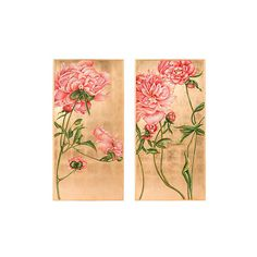 Rose Bloom On Gold Panels, Set Of Two (4,665 BAM) ❤ liked on Polyvore featuring home, home decor, window treatments, curtains, flower curtains, gold home decor, flower home decor, gold window treatments and rose curtains