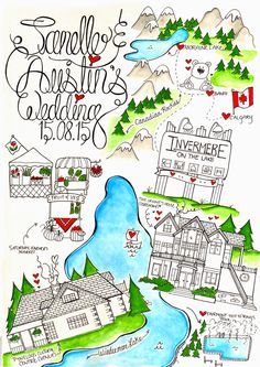 Designer Maps by Zoe- Illustrated custom Wedding Save the Date map- Canada https://www.etsy.com/uk/shop/DesignerMapsByZoe  #savethedate #wedding #weddingmap #banffcanada #calligraphy