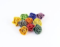 Set of 10 ceramic rainbow color roses - OOAK DIY parts for crafts and design