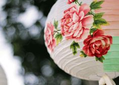 Pretty up a a REGOLIT paper lantern with this decoupage idea. From greenweddingshoes