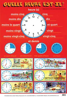 FLE/ Learning French- Telling the time/ Hours- Dire l'heure- Les heures French Language Lessons, French Language Learning, French Lessons, German Language, French Basics, French For Beginners, French Flashcards, French Worksheets, French Verbs