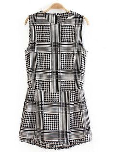 Black Sleeveless Contrast PU Leather Houndstooth Jumpsuits EUR€22.91