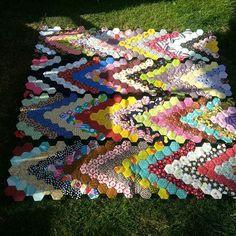 Hexagon chevron quilt. Four of six panels done.